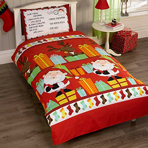 Father Christmas Kids Santa Presents Xmas Quilt Duvet Cover and Pillowcase Bedding Bed Set, Multi-Colour, Single