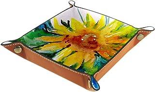 Boîte de rangement pliable en cuir PU pour bureau de couleur - Pour table de jeu de table carrée - Porte-monnaie, porte-mo...