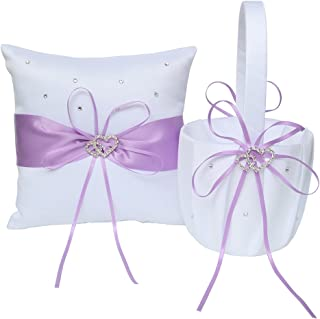 Lanting Home Decor Handle Flower Girl Basket and Ring Bearer Pillow with 2 Rhinestone Hearts for Rustic Wedding Bride Shower Ceremony Party, Lavender