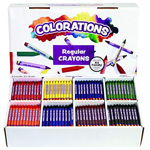 Colorations Regular Crayons - 8 Colors, Set of 800 (Item # CRRGS)