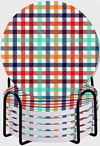 GUVICINIR Juego de 6 Posavasos de cerámica Absorbente con Base de Corcho,Apto para Tipos de Tazas,Patrón sin Costuras de Tela Escocesa de Cuadros de Cuadros Coloridos en Azul, Blanco, Rojo y Amarillo