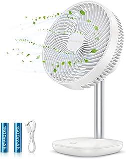SmartDevil Ventilador de Mesa,batería Recargable de 3000 mAh,Ventilador portátil,Viento de 4 velocidades,45 °Ajustable,silencioso y Potente,Ventilador de enfriamiento fácil de Limpiar Blanco