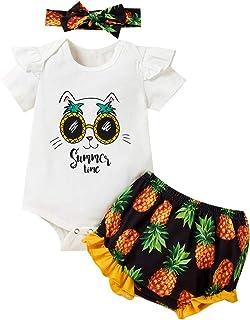 ZOEREA Neugeborenes Baby Mädchen Babykleidung Set Kurzarm Rüschen Strampler  Fruchtdruck Shorts  Stirnband Sommer Kleinkinder Babyset für 0-18 Monate