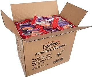 ForPro Basics 4-Piece Pedi Kit, Purple Pumice Pad, White Wood Nail File 100/180 Grit, Orange Mini Buffer 100/180 Grit, Wood Stick, 200-Count