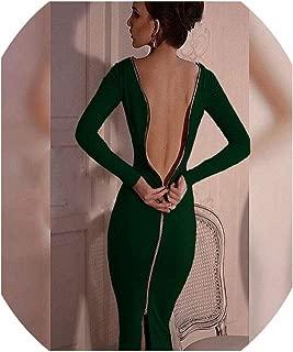 Bodycon Sheath Dress Party Sexy Dresses Women Back Full Zipper Robe Sexy Femme Pencil Tight Vestidos