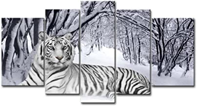 tiger running in snow