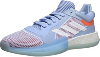 adidas Men's Marquee Boost Low Basketball Shoe, Glow Blue/White/hi-res Coral, 12.5 M US