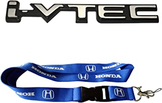 New 1pcs Honda Keychain Lanyard Badge Holder + New i-VTEC Logo Chrome Badge Emblem Sticker Decal For Honda