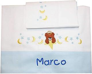 """ZIGOZAGO - Set per culla o lettino""""ORSETTO"""" in piquet di cotone in 3 pezzi con nome personalizzato. Federa, lenzuolo e cop..."""