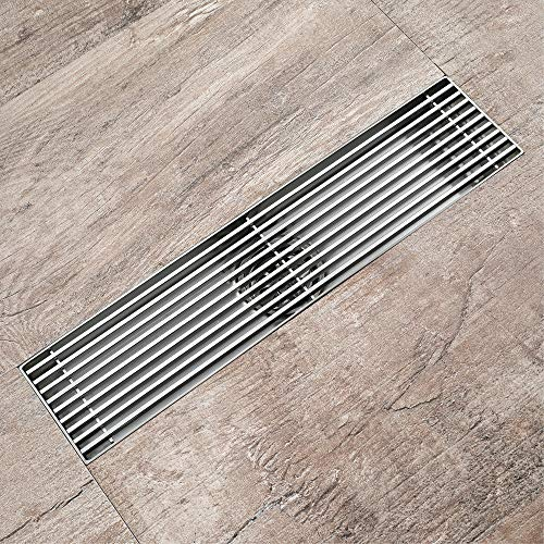 PIJN Bodenablauf Edelstahl Rechteckige Maschendraht-Oberfläche Horizontal-Streifen großer Verschiebung Drainage Bodenablauf (Color : Metallic, Size : 300x70x25mm)