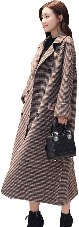 Beltnossnk Women Houndstooth Double Breasted Elegant Cashmere Jacket Large Size Coats
