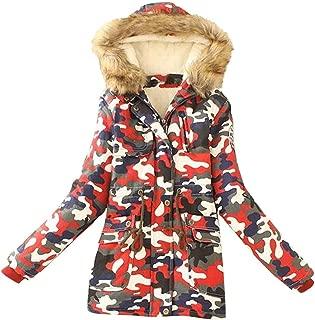Beautyfine Women's Winter Warm Camouflage Thickened Zipper Hoodies Coat