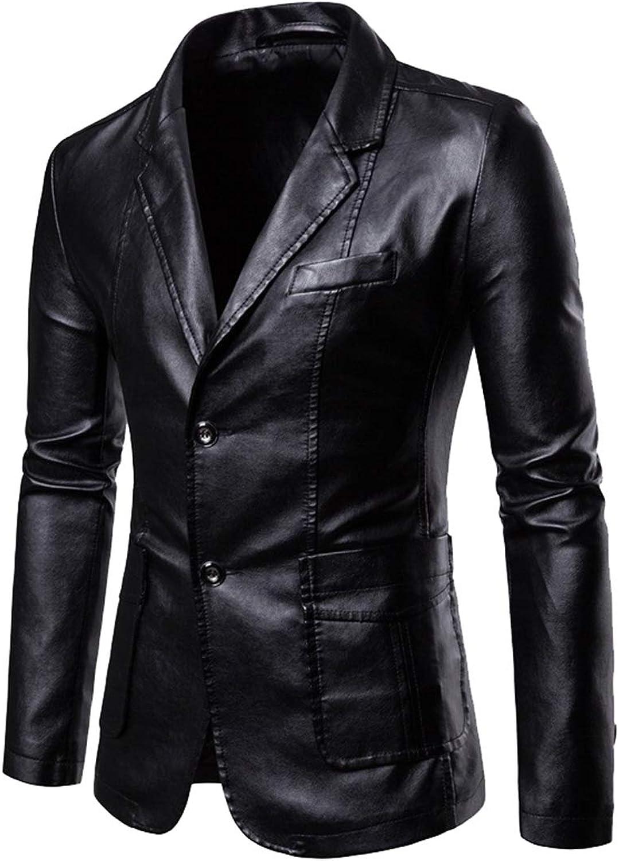 - - - Sanderso Men's Classic Casual Pu Faux Leather Two Button Blazer Suit Jacket a6411c