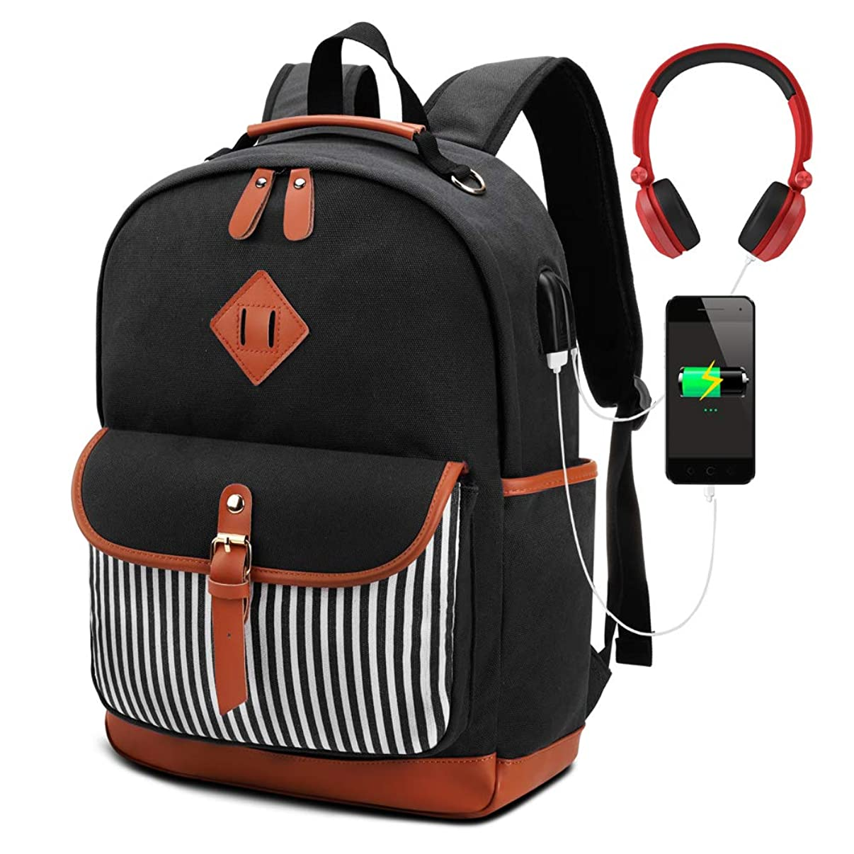 Meisohua Laptop Backpack Canvas Backpack Womens School Backpack with USB Charging Port College Backpack Teen Girls High School Bookbag fit 15.6 inch Laptop (Black)