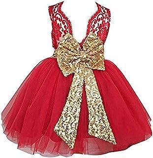 592fc87ad43 Freefly Fleur Filles Robe de Mariage fête de Noël Anniversaire Paillettes  Bowknot Floral sans Manches Princesse