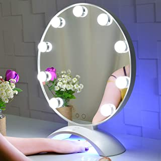 BEAUTME Makeup Mirror with Lights,Hollywood Lighted Vanity Mirror with LED UV Nail,Tabletop Beauty Mirror with Touch Screen Dimmer(White)