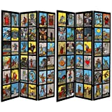 ORIENTAL Furniture Tall Double Sided Tarot Canvas Room Divider, 6'