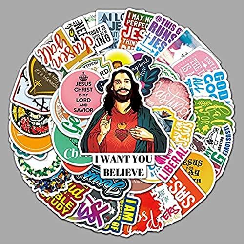 Earmeryy 50 Piezas de Dibujos Animados Cristiano inglés Lema Graffiti Pegatinas portátil Equipaje Coche Nevera decoración Pegatinas