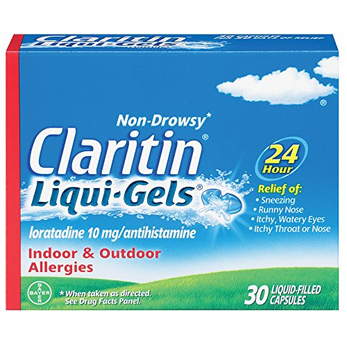 Claritin Liqui-Gels 24 Hour Allergy Relief, Non-Drowsy Allergy Medicine, Loratadine Antihistamine Capsules, 30 Count