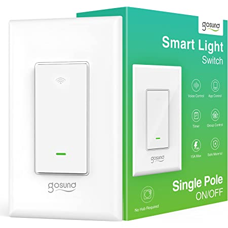 Smart Light Switch, in-Wall WiFi Smart Switch That Compatible with Alexa and Google Home, No Hub Required, Neutral Wire Needed, Single-Pole 15A, Etl and Fcc Listed,1Pack White