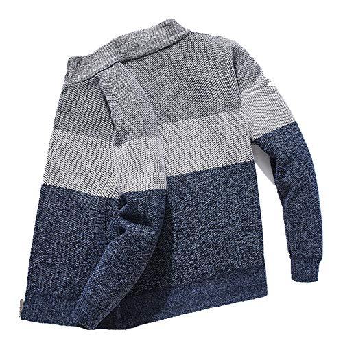 U/A rayas gris suéter de los hombres de punto de gran tamaño Cardigan ropa caliente para