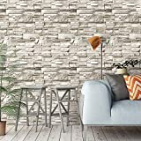 ConCus-T Brick Wallpaper Peel and Stick Faux Stone Contact Paper Self-Adhesive Decorative Kitchen Backsplash Waterproof Bedroom Living Room Wall Coverings 3D Textured Tan 17.72 by 393 inch