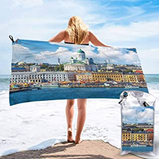 "Ahuimin Quick Dry Beach Towel, European,Helsinki Finnish Skyline, 27.5"" x 55"" Super Absorbent Lightweight Microfiber Bath Towels for Travel Pool Gym"