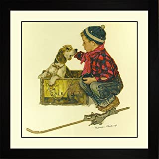 Norman Rockwell PUPPY - LOVE AT FIRST SITE Framed Boy Puppies Wall Hanging Art Gift