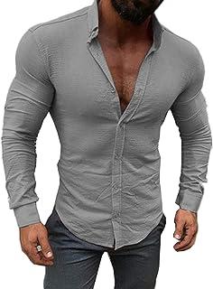 64031929 CREAMprice Men Button Down Shirts Long Sleeve Slim Fit Casual Muscle Button  Down Dress Shirt