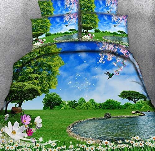 Parures De Lit Sets Ciel Bleu, Lac Et Fleurs_220*260CM