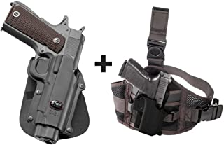 Fobus C-21 Paddle Passive Retention Holster Most Kimber 1911 Style Pistols, 4&5 inch Without Rails + EXND Thigh Rig Platform