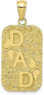 0.55 in x 0.63 in 10K Gold I Love My Grandpa Charm Pendant