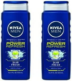 NIVEA Men Power Refresh Body Wash 16.9 fl. oz. - Pack of 2