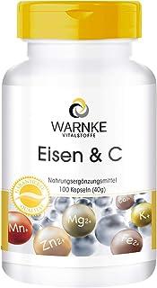 Hierro + Vitamina C – 100 cápsulas – 14mg de Hierro – Con B12 y Biotina – Con Vitamina C para una mejor absorción del hierro
