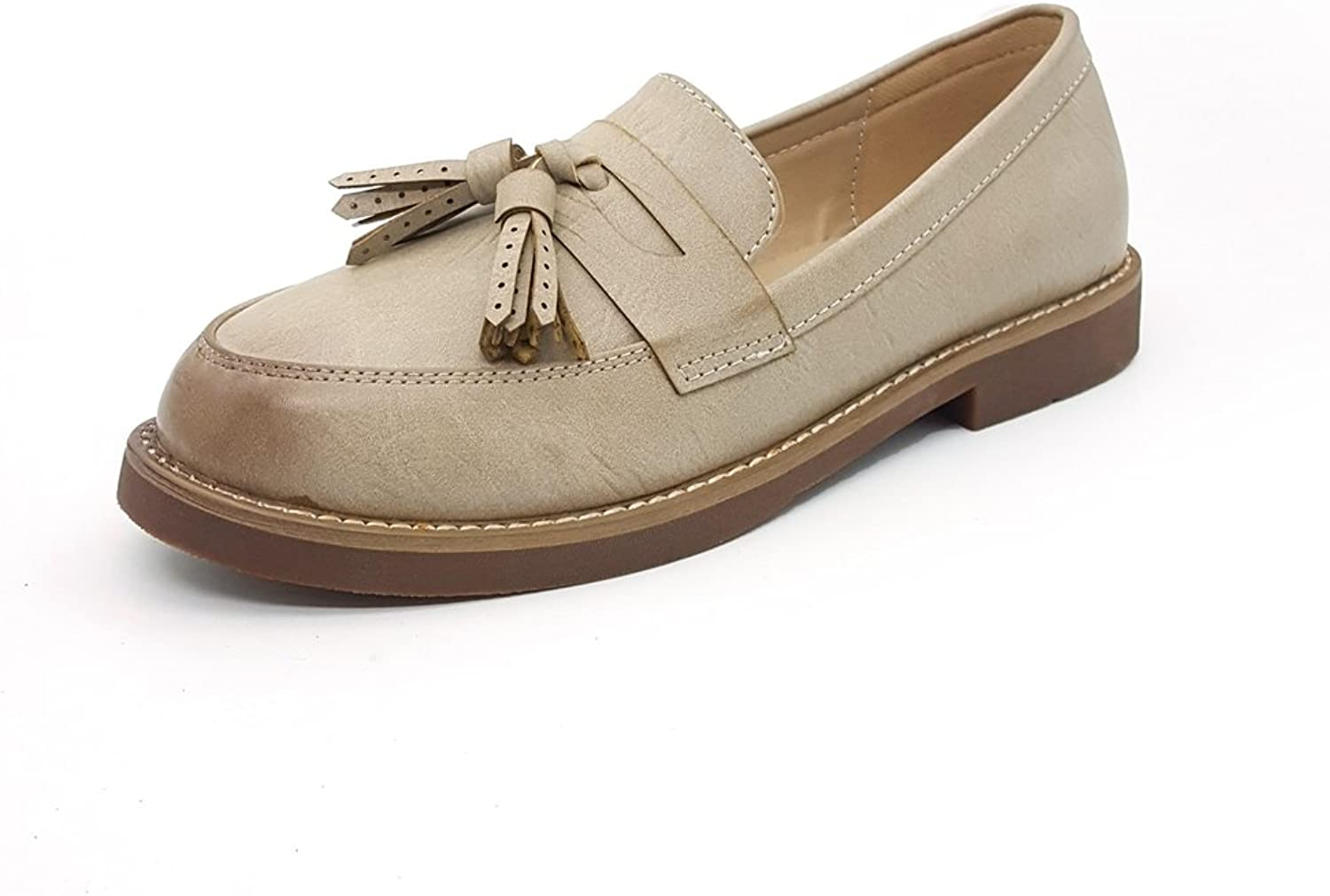 T-JULY Womens British Style Tassel Loafers Penny Casual Dress Pumps Soft Flat shoes