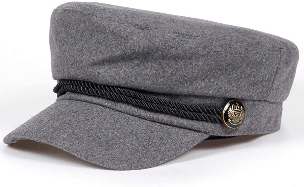 BELEMON Solid Visor Military Hat Autumn and Winter Vintage Patchwork Beret Cap for Women Flat Cap