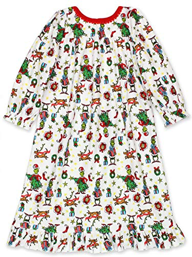 Dr. Seuss The Grinch Toddler Girls Christmas Holiday Flannel Granny Gown Nightgown (2T, White/Multi)