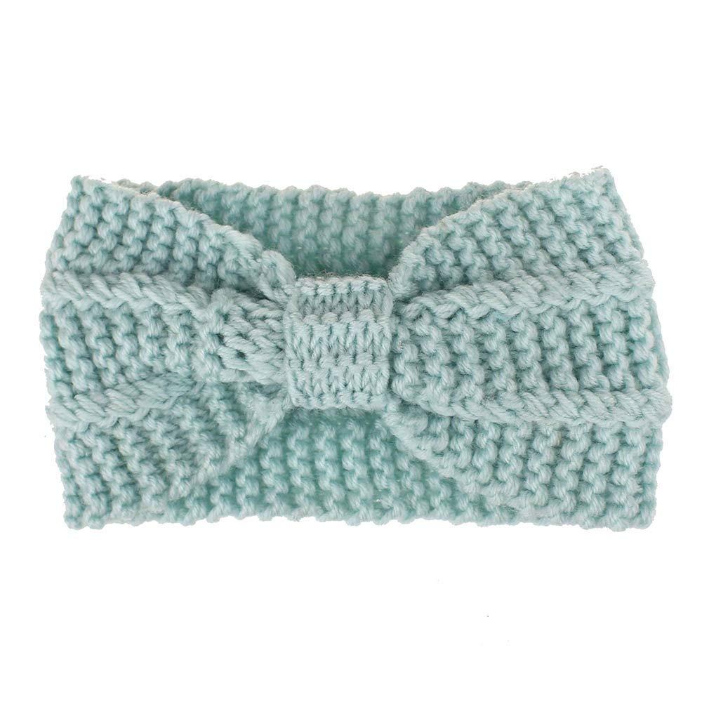 Chunky Headbands Hair Band Crochet Turban Knitted Ear Warmer (Blue)