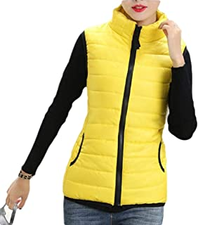 Women Stand Collar Zip Closure Sleeveless Quilted Puffer Jacket Vest Outerwears