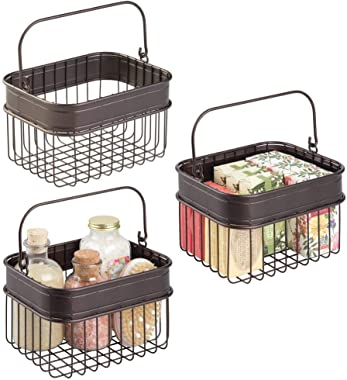 mDesign Decorative Storage Basket Bin with Handle for Organizing Hand Soaps, Body Wash, Shampoos, Lotion, Conditioners, Hand Towels, Hair Accessories, Body Spray, Mouthwash - Small - 3 Pack - Bronze