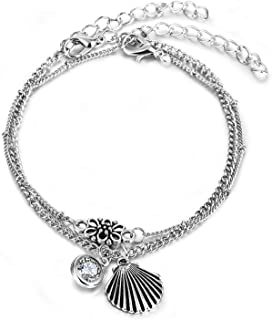 Agust D Boho Vintage Silver Beach Anklet Geometric Crystal Shell Pendant Anklet Layered Foot Waist Chain Women Anklet Jewelry,F198