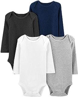 Infant Unisex Baby Bodysuit 4-Pack Long-Sleeve Romper...