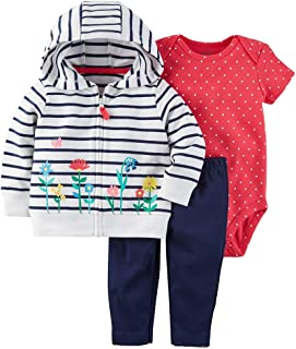 Carter's 3-pc. Striped Hooded Jacket, Bodysuit & Pants Set - Baby New Born Pink