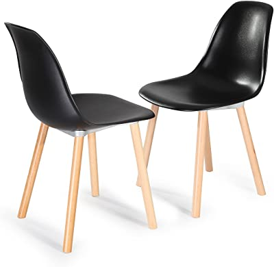 GARAGEEIGHT Chair Sierra 2er-Set Black, 55 x 46.5 x 85 cm