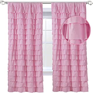 WestWeir Pink Ruffle Curtains - Set of 2 Panels,Silver Glitter for Girl's Room 42 inches x 84 inches