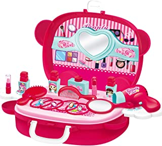Afazfa Cute Kids Toys Pretend Play Cosmetic and Makeup Toy Set Kit for Little Girls Kids Beauty Salon Toy for Children's Day Gifts (Hot Pink)