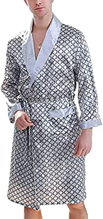 Men's Luxurious Soft Satin Robe with Shorts Nightgown, Long-Sleeve Pajamas Printed Bathrobes Set, Lightweight Dressing Gow...