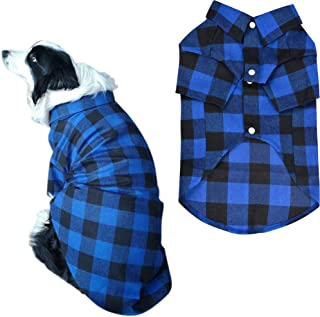 Lamphyface Dog Shirt Pet Plaid Polo Clothes T-Shirt Custom Apparel for Small Medium Large Dogs