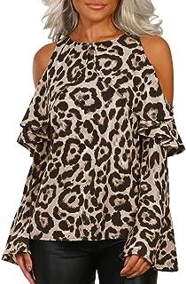 Women Leopard Print Shirt Long Sleeve Button Turn-Down Collar Blouse Tops