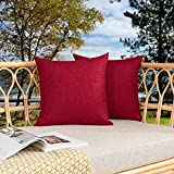 Kevin Textile Pack of 2 Outdoor Waterproof Throw Pillow Covers Decorative Farmhouse Checkered Square Solid Cushion Cases for Patio Garden Porch Sofa Red 18x18 inch